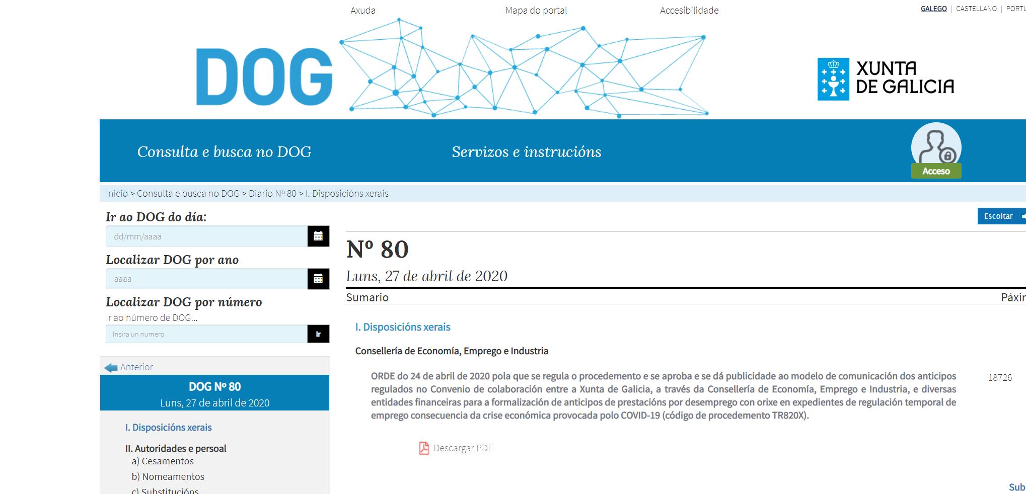 Los trabajadores afectados por ERTE pendientes de cobrar ya pueden solicitar un anticipo de 1.500 euros a la Xunta de Galicia